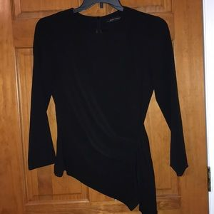 Zara black ruched fitted blouse